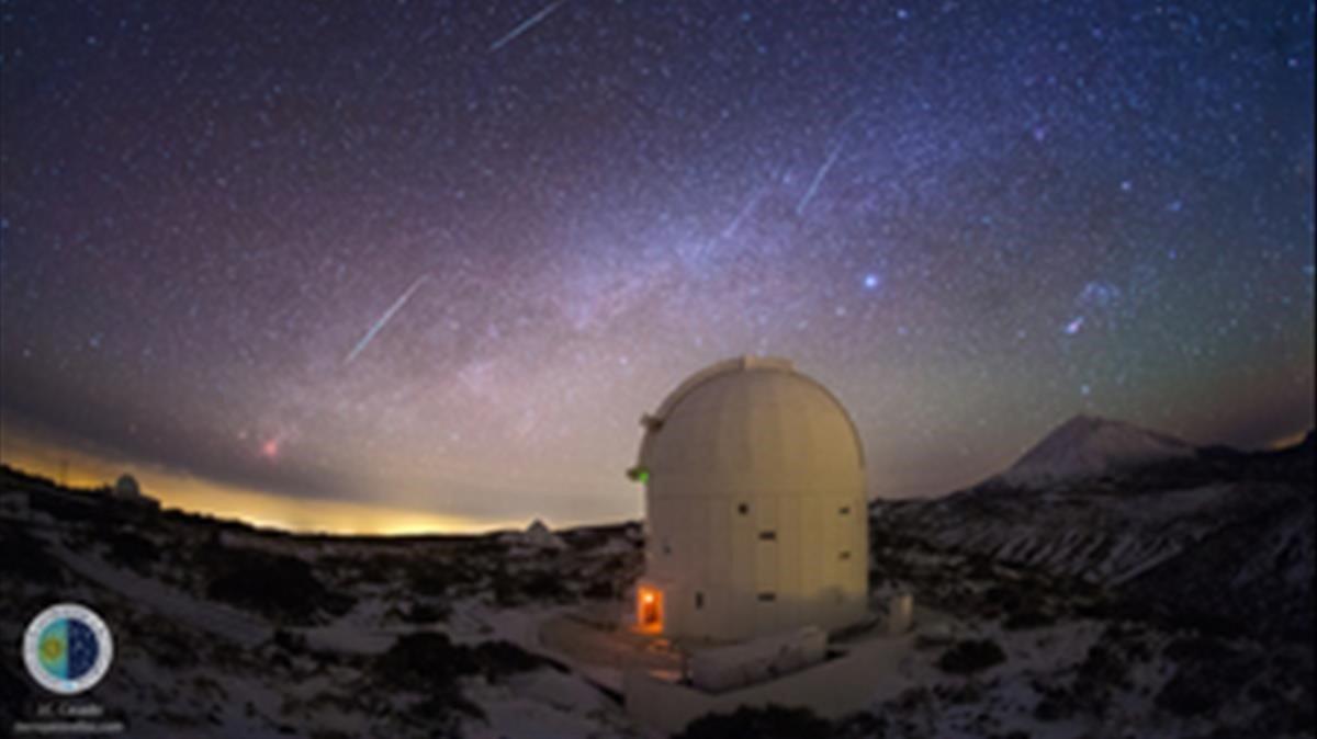 Lluvia de estrellas desde el Observatorio del Teide, en diciembre del 2013