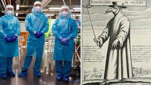 Los médicos de la pandemia del covid-19 y los de la peste (dibujo del siglo XVII).