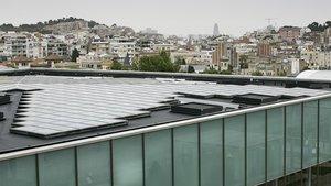 Placas solares en la azotea verde de CosmoCaixa.
