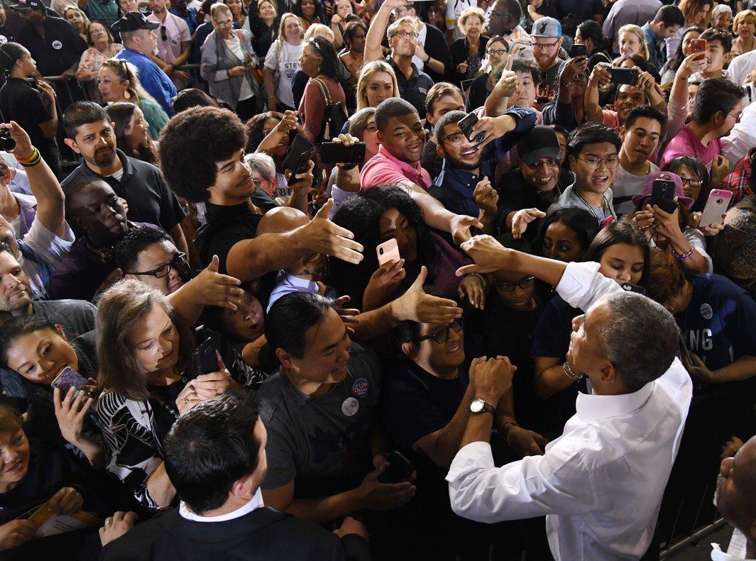 Obama en el acto de campaña de legisladores federales en Las Vegas.