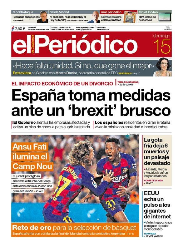 La portada d'EL PERIÓDICO del 15 de setembre del 2019