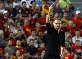 Luis Enrique Martínez durante un partido de la selección española.