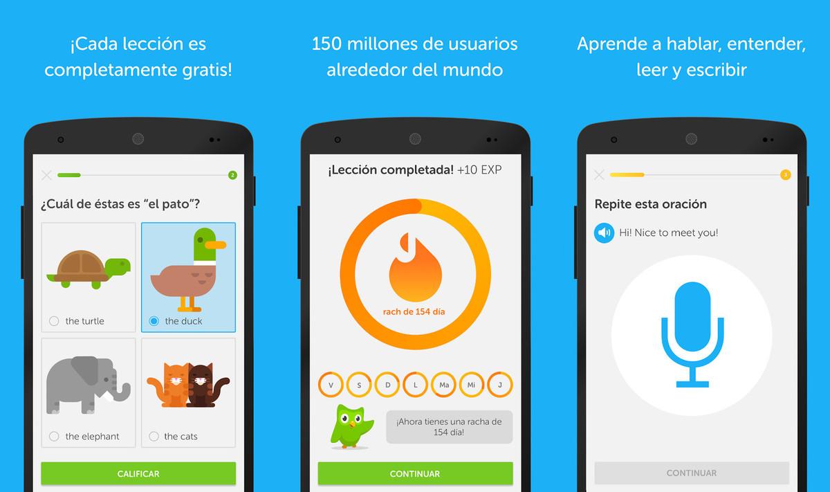 La aplicación Duolingo.