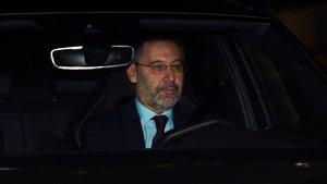 Bartomeu, a su llegada a la reunión de la junta este martes.