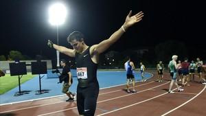 Bruno Hortelano, tras su carrera de 200 en el polideportivo Juan de la Cierva de Getafe.