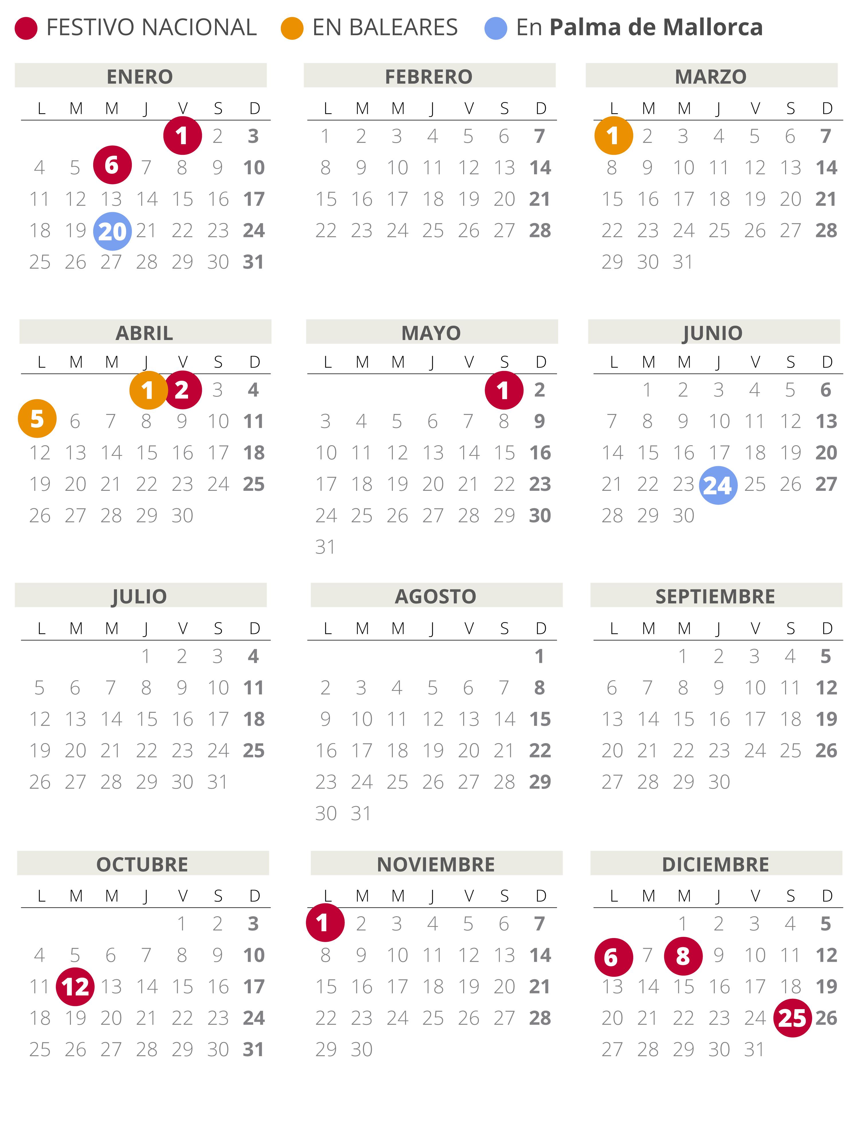 Calendario laboral de Palma de Mallorca del 2021.