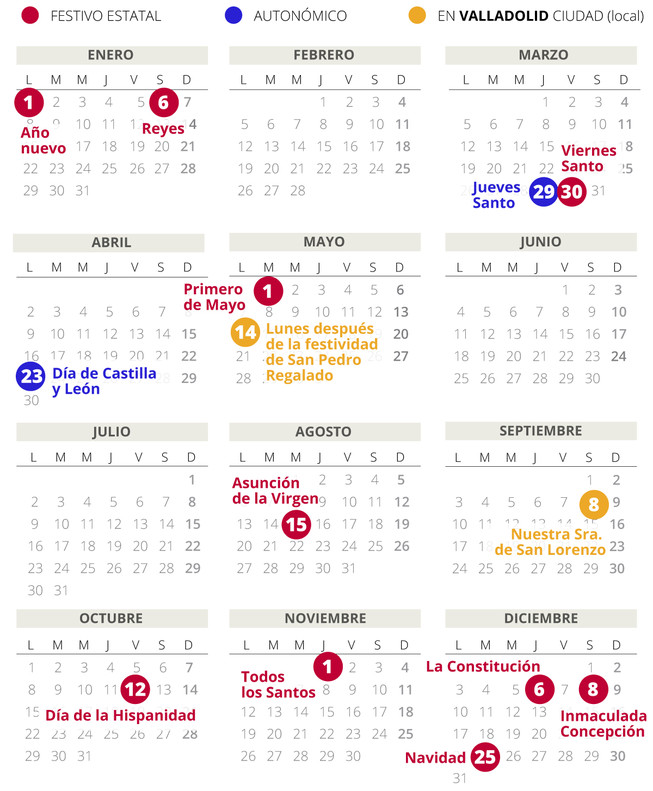 Calendario laboral de Valladolid del 2018.