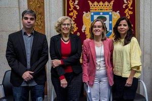 García Castaño, Carmena, Causapié y Rodríguez, durante la presentación del proyecto de presupuestos de Madrid para el 2019.