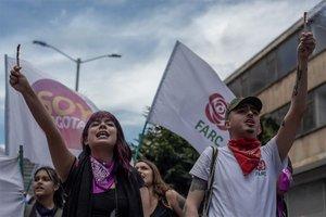 Marcha en favor de la paz en Colombia.