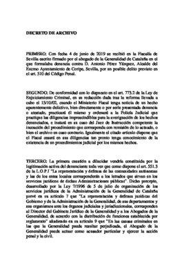 Decreto de archivo del muñeco de Puigdemont