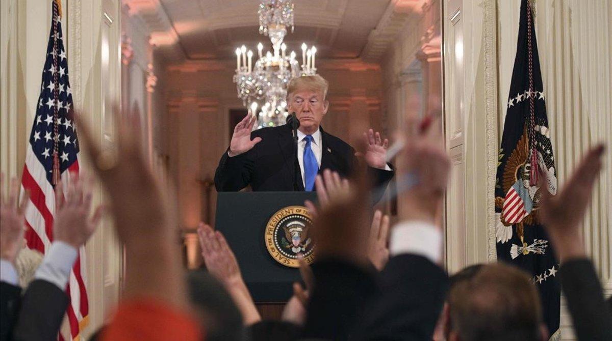 Donald Trump, enla rueda de prensa tras las elecciones, en la Casa Blancael 7 noviembre del 2018.