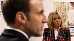Brigitte Macron observa a su marido durante un discurso en un hospital, en diciembre pasado.