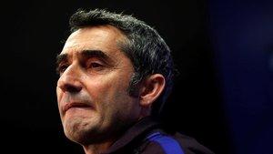 Ernesto Valverde, en una rueda de prensa en la ciudad deportiva de Sant Joan Despí.