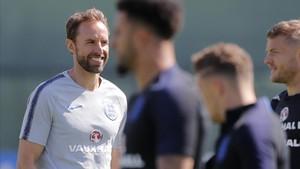 Gareth Southgate, técnico inglés, durante un entrenamiento.