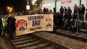 Manifestación para reclamar el soterramiento de las vías, el pasado mes de febrero.