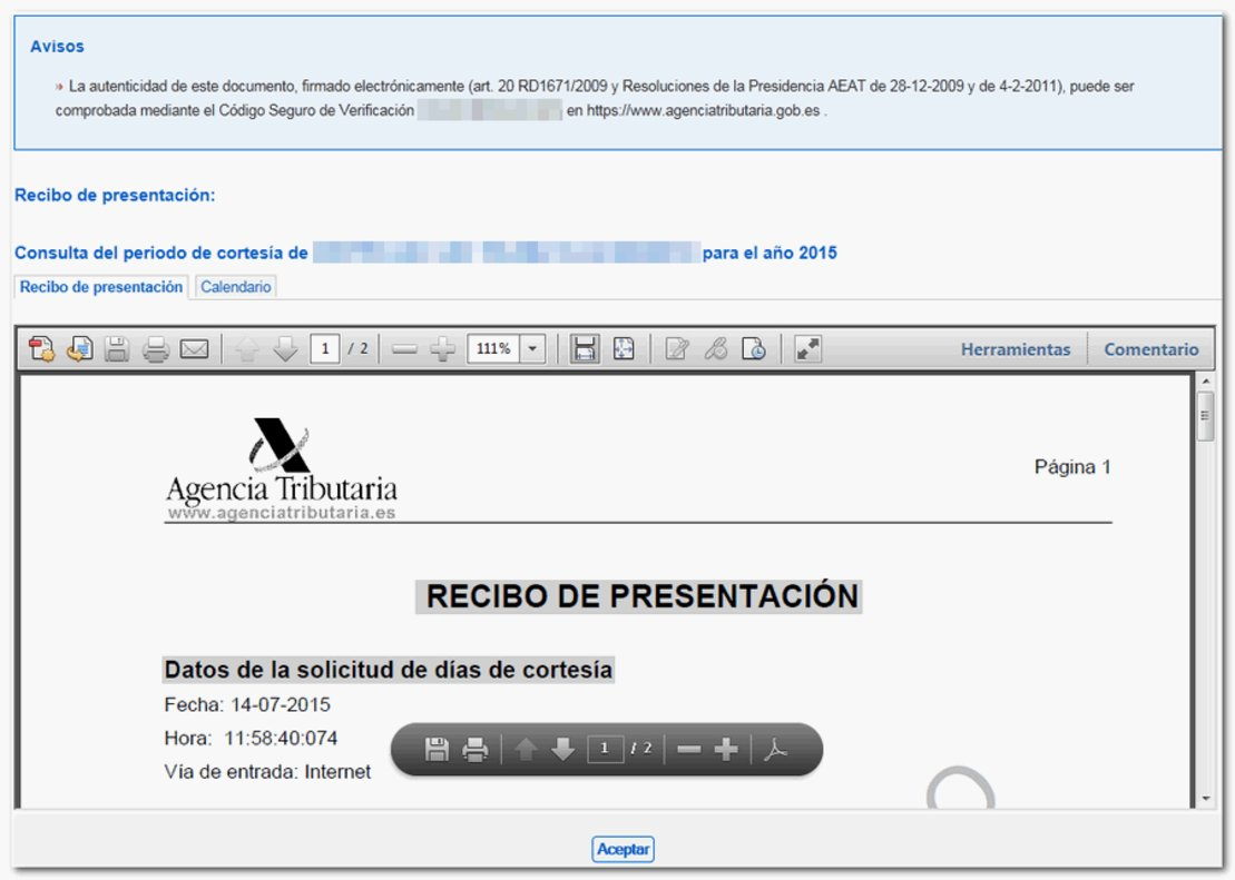 Imagen de la validación de la solicitud de los días de cortesía sin notificaciones.