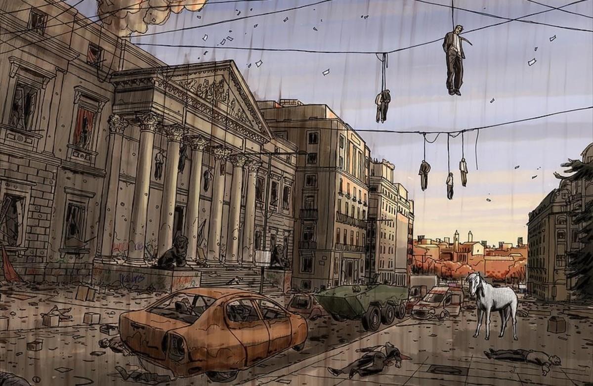 Un Madrid apocalíptico, en una página del cómic Hoy es un buen día para morir, de Colo.