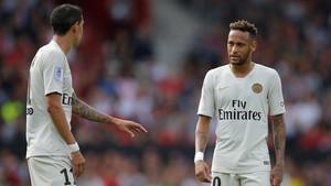 Di Maria y Neymar, en el partido del PSG contra el Guingamp.