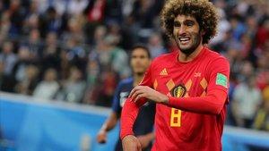 Marouane Fellaini, en acción jugando con la selección de Bélgica ante Francia en el Mundial-18 de Rusia.