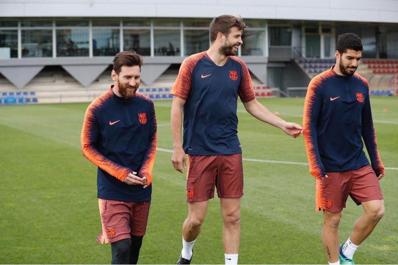Messi, Piqué y Suárez, en la ciudad deportiva de Sant Joan Despí.