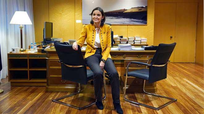 La ministra de Industria, Reyes Maroto, durante la entrevista con EL PERIÓDICO