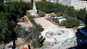 La Plaza de España de Madrid en obras.