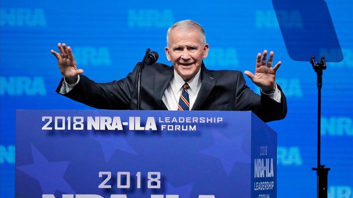 Oliver North durante su intervención la semana pasada en la convención de la NRA en Dallas, Texas.