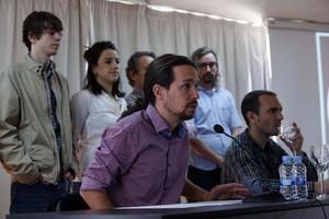 Pablo Iglesias, durante una rueda de prensa de Podemos, el viernes en Madrid.