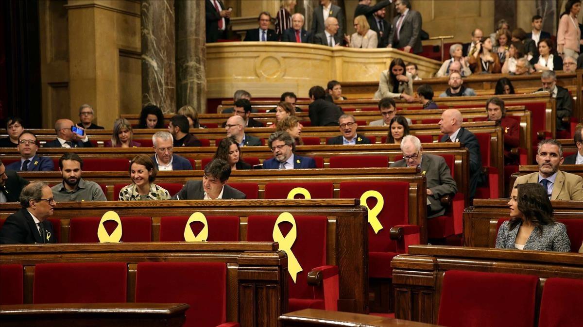 Panorámica el Parlament durante la sesión de investidura.