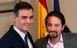 Pedro Sánchez y Pablo Iglesias tras la firma del Gobierno de coalición