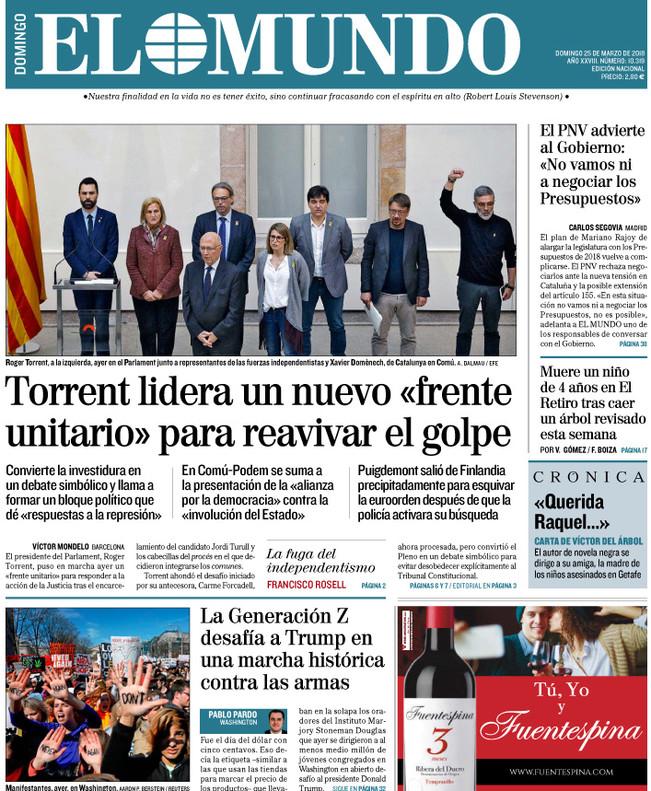 'El Mundo' acusa a Torrent de liderar un golpe de Estado en marcha