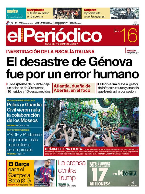 La portada de EL PERIÓDICO del 16 de agosto del 2018