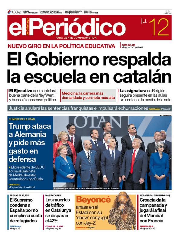 La portada de EL PERIÓDICO del 12 de julio del 2018