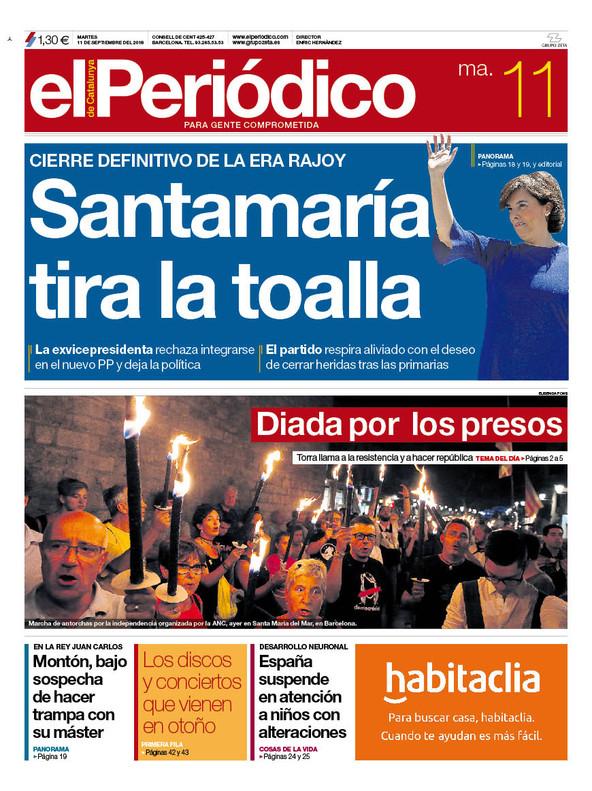 La portada de EL PERIÓDICO del 11 de septiembre del 2018