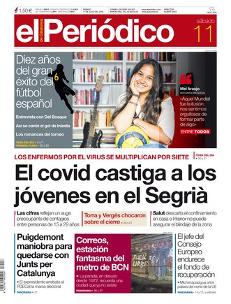 La portada de EL PERIÓDICO del 11 de julio del 2020