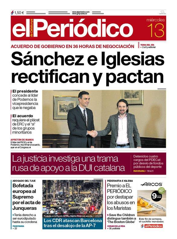 La portada de EL PERIÓDICO del 13 de noviembre del 2019.