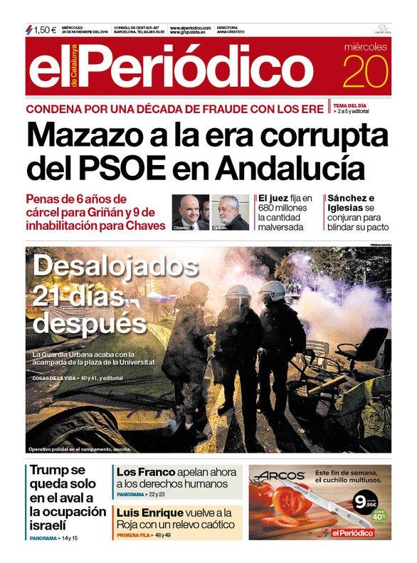 La portada de EL PERIÓDICO del 20 de noviembre del 2019.