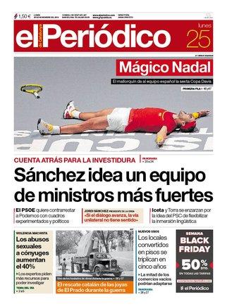 Portada de EL PERiÓDICO 25 de noviembre de 2019.
