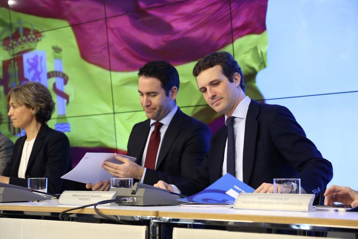 El presidente del PP, Pablo Casado, durante el Comité Ejecutivo Nacional, junto a Teodoro García Egea.