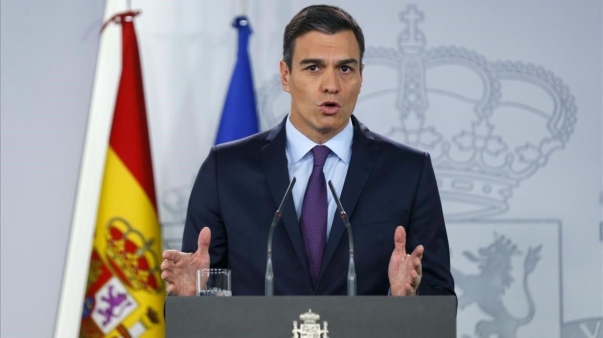 El presidente, Pedro Sánchez, durante su comparecencia ante los medios el 4 de febrero.