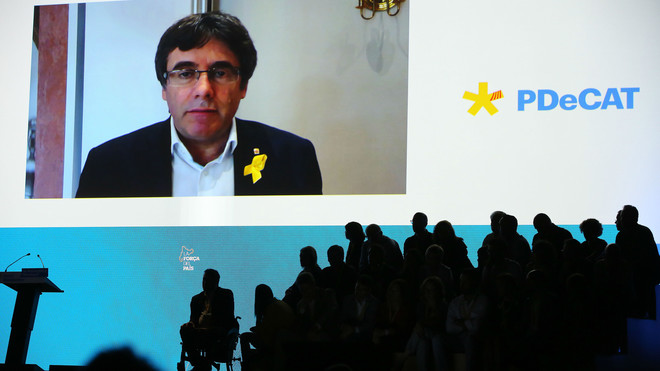 Puigdemont participa, de forma virtual, en la primera asamblea del PDECAT, este domingo.