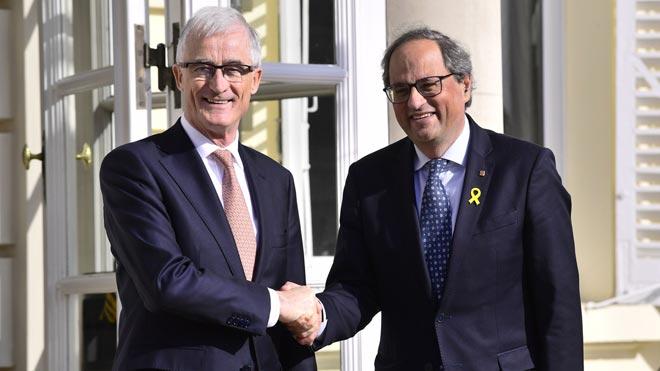 Quim Torra se reúne con el presidente de Flandes, Geert Bourgeois, en Bruselas.