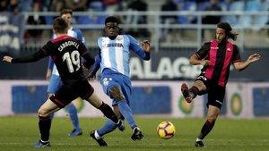 El Reus, durante su victoria ante el Málaga.