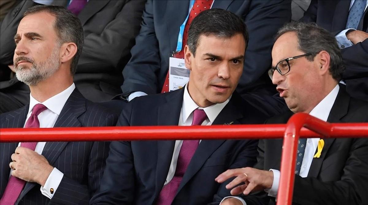 El Rey, Sánchez y Torra el pasado 22 de junio en Tarragona, durante la inauguración de los Juegos Mediterráneos.