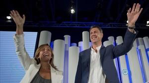 Alicia Sánchez-Camacho y Xavier García Albiol, en un mitin de la campaña delas elecciones autonómicas del 2015, en Barcelona.