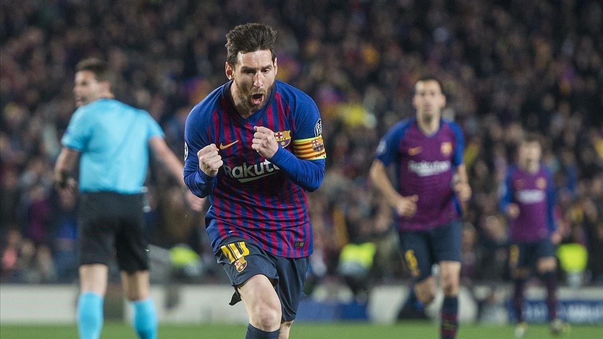 Messi celebra con rabia su primer gol ante el United.
