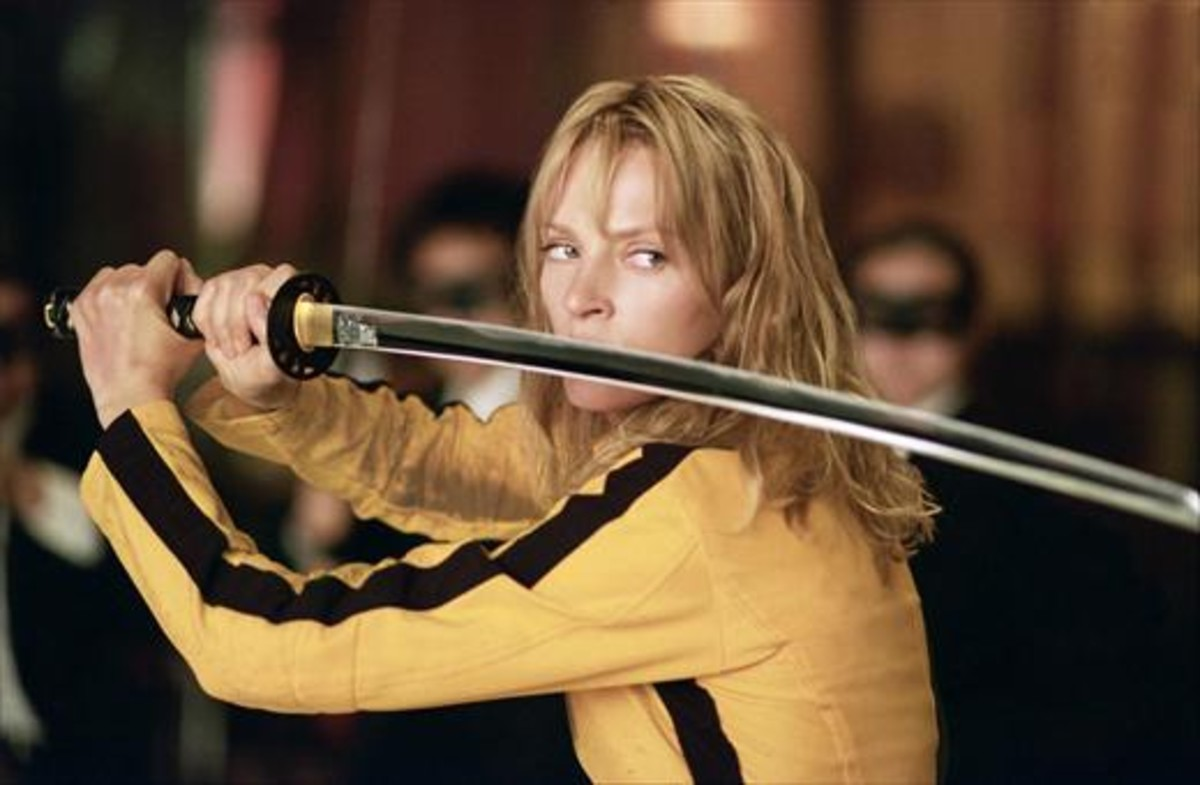 Uma Thurman, interpretando a La Novia en Kill Bill.