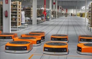 Sistema de gestión de paquetería mediante robots en las instalaciones de Amazon en Castellbisbal.