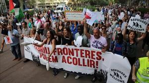Manifestación en Barcelona a favor de los refugiados, el pasado mes de septiembre.