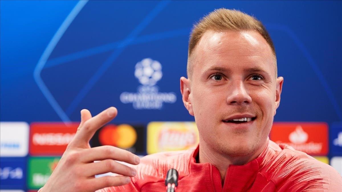 Ter Stegen, en la rueda de prensa previa al duelo con el United en el Camp Nou.